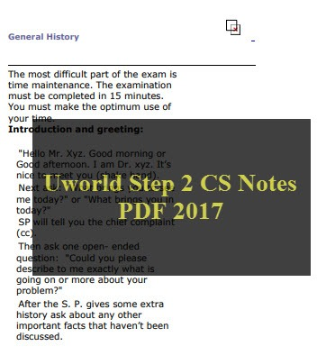 Uworld Step 2 CS Notes PDF 2017 (Very Important